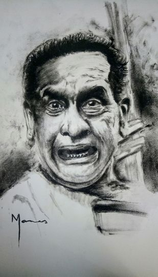 Emotion through Music by MANAS DIXIT, Illustration Drawing, Charcoal on Paper, Gray color