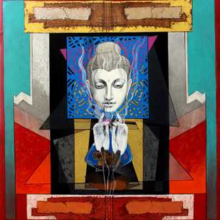 Pensive Buddha 1 by Deepankar Majumdar, Expressionism Painting, Acrylic on Canvas, Brown color