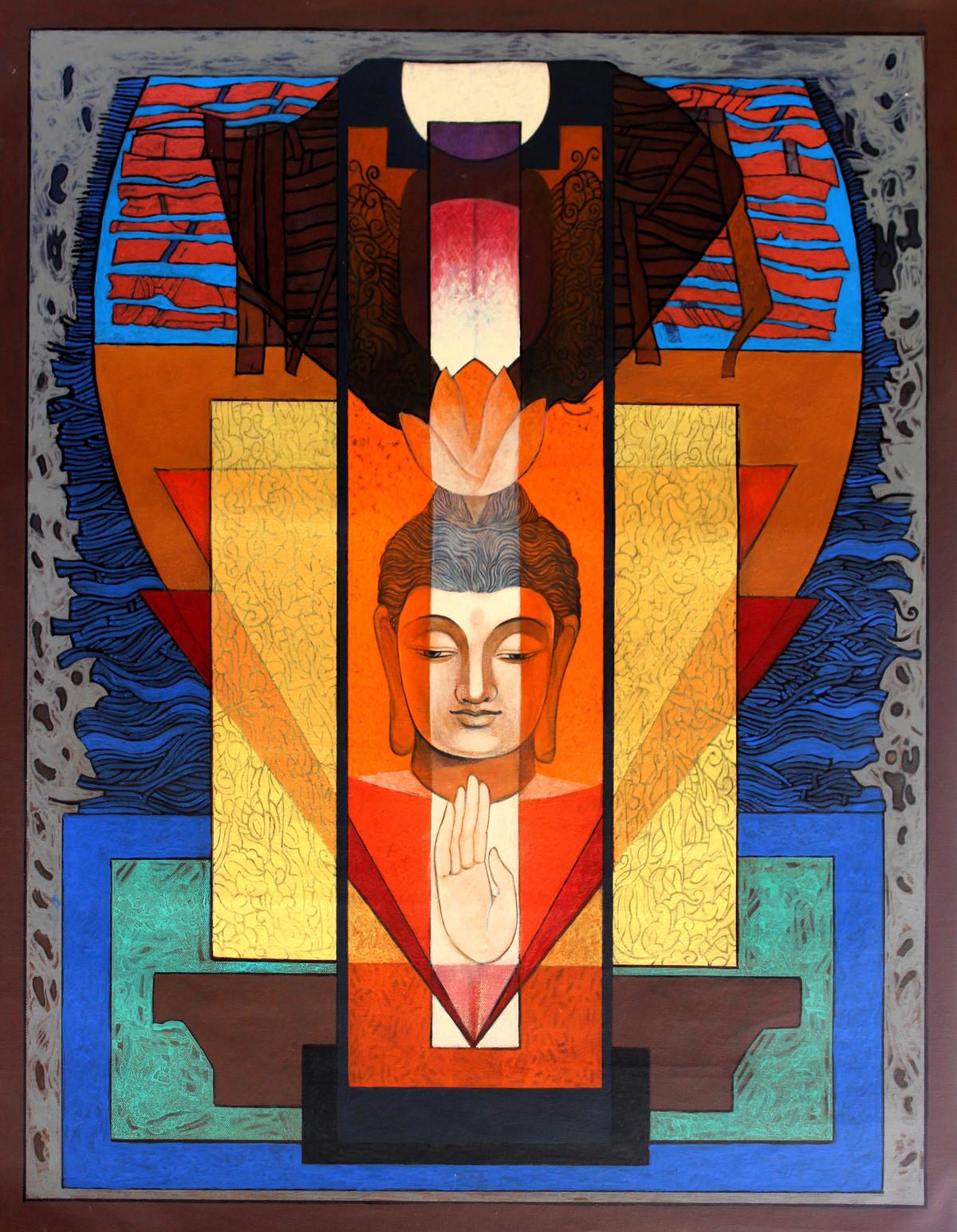 Buddha – 'The Yogi' 2 by Deepankar Majumdar, Expressionism Painting, Acrylic on Canvas,