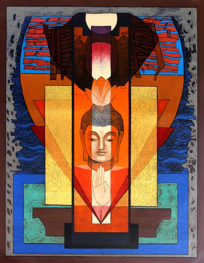 Buddha – 'The Yogi' 2 Digital Print by Deepankar Majumdar,Expressionism