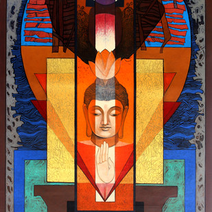 Buddha – 'The Yogi' 2 by Deepankar Majumdar, Expressionism Painting, Acrylic on Canvas,