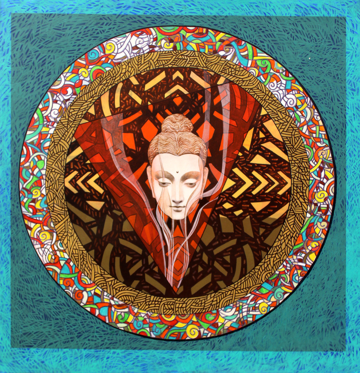 Buddha – The Circle of Life Digital Print by Deepankar Majumdar,Expressionism