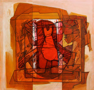 Composition 1 by Deepankar Majumdar, Abstract Painting, Acrylic on Canvas, Brown color