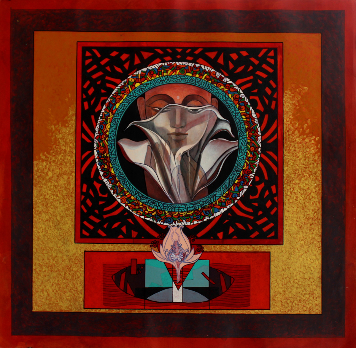 Buddha – The Recluse by Deepankar Majumdar, Expressionism Painting, Acrylic on Paper, Brown color