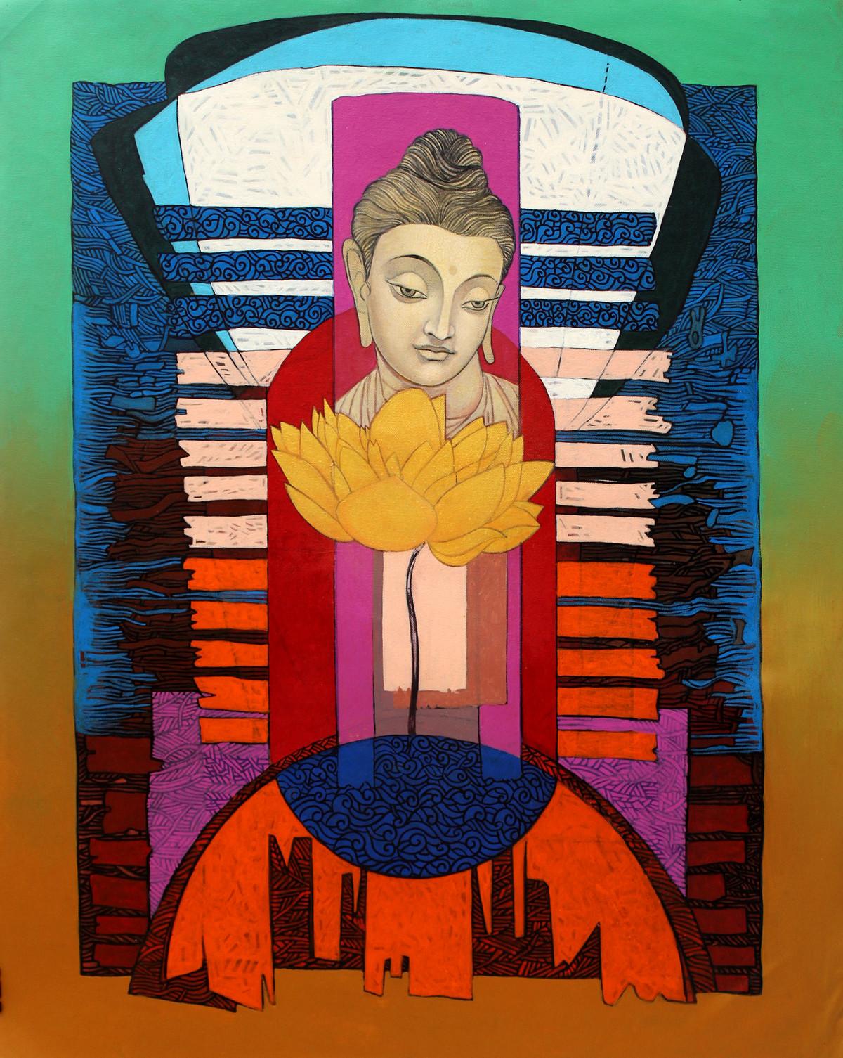 Enlightened Buddha 2 Digital Print by Deepankar Majumdar,Expressionism
