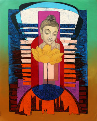 Enlightened Buddha 2 by Deepankar Majumdar, Expressionism Painting, Acrylic on Canvas, Brown color
