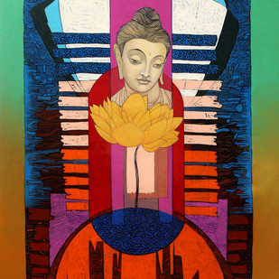 Enlightened Buddha 2 Digital Print by Deepankar Majumdar,Expressionism