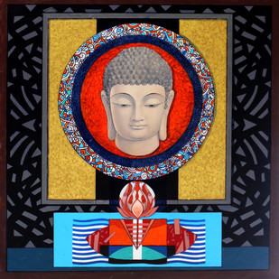 Buddha – 'The Yogi' 1 by Deepankar Majumdar, Expressionism Painting, Acrylic on Canvas,
