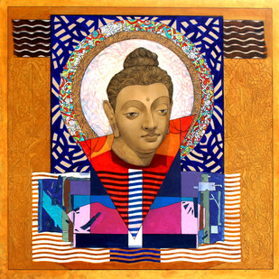 Enlightened Buddha 3 by Deepankar Majumdar, Expressionism Painting, Acrylic on Canvas, Brown color