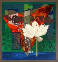 Composition 2 by Deepankar Majumdar, Expressionism Painting, Acrylic on Canvas, Green color