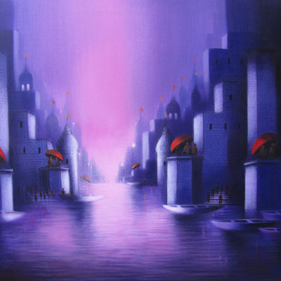 Holy Banaras by Somnath Bothe, Impressionism Painting, Acrylic on Canvas, Blue color