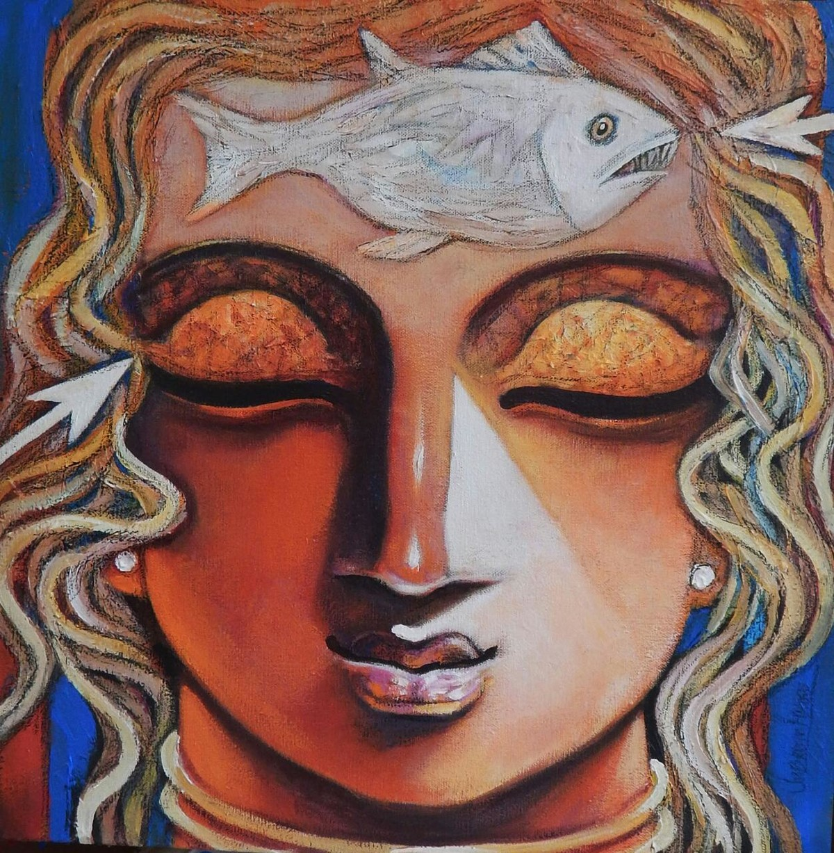 ARJUNA by Subrata Ghosh, Expressionism Painting, Mixed Media on Canvas, Brown color