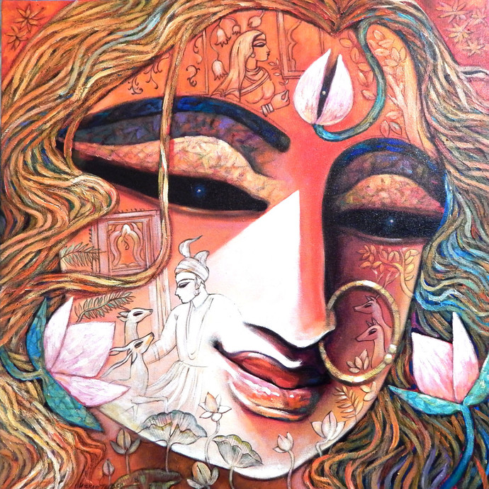 MAHAMAYA by Subrata Ghosh, Expressionism Painting, Acrylic on Canvas, Brown color