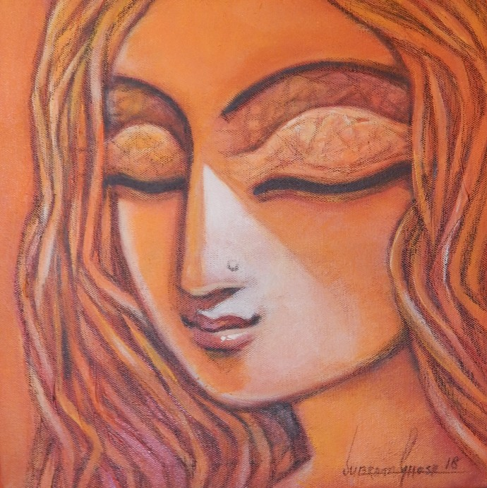 SHE - I by Subrata Ghosh, Expressionism Painting, Acrylic on Canvas, Brown color
