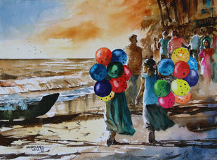 Baloon Sellers by Mopasang Valath, Impressionism Painting, Watercolor on Paper, Brown color