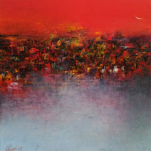 Distance view of a Village by M Singh, Abstract Painting, Acrylic on Canvas, Brown color