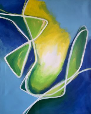 Reaching out by Vernika, Abstract Painting, Acrylic on Canvas, Blue color
