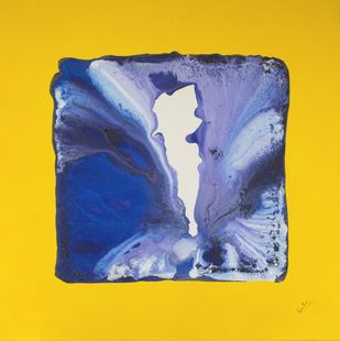 Attraction by Vernika, Abstract Painting, Acrylic on Canvas, Yellow color