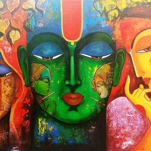 Meera ke krishna #6 by Arjun das, Expressionism Painting, Acrylic on Canvas, Brown color