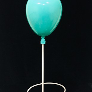Turquoise balloon by Vernika, Art Deco Sculpture | 3D, Fiber Glass, Black color