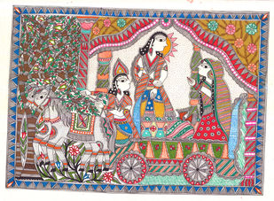 An Epic Of Thousand Lines... Madhubani's Ramayana by Unknown Artist, Folk Painting, Acrylic & Ink on Paper, Brown color