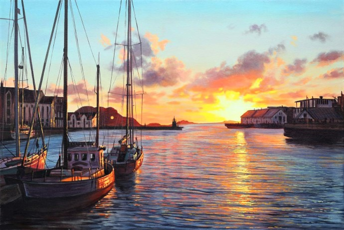 Glimpses of Sunset by Gogi, Impressionism Painting, Oil on Canvas Board, Brown color