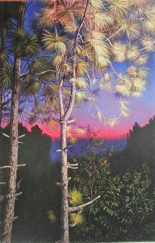 Glimpses of Dawn by Gogi, Impressionism Painting, Oil on Canvas Board, Gray color