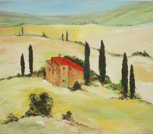 Tuscan Landscape by Animesh Roy, Expressionism Painting, Oil on Linen, Beige color