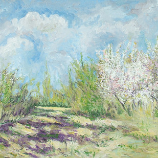 Blossoming Wild Cherry Trees-5 Digital Print by Animesh Roy,Expressionism