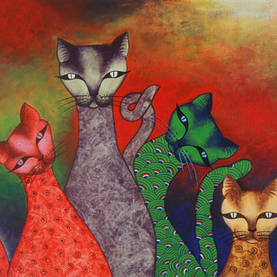 family by Sumitra Chattopadhyay, Expressionism Painting, Acrylic on Canvas, Brown color