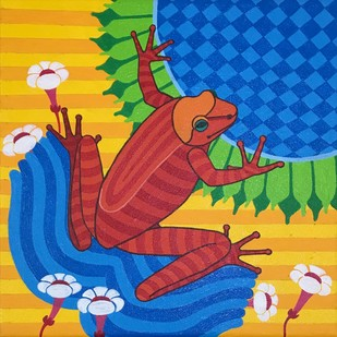 untitled by Thota Laxminarayana, Decorative Painting, Acrylic on Canvas, Blue color