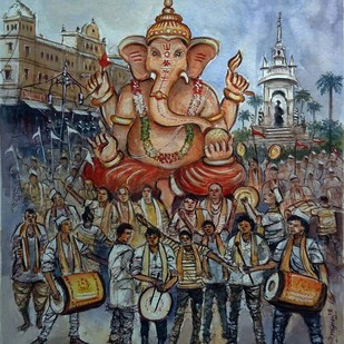 VISARJAN by Ram Kumar Maheshwari, Impressionism Painting, Watercolor on Paper, Brown color