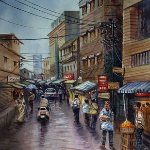 MARKET by Ram Kumar Maheshwari, Impressionism Painting, Watercolor on Paper, Brown color