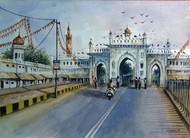 GOOD EVENING LUCKNOW by Ram Kumar Maheshwari, Impressionism Painting, Watercolor on Paper, Green color