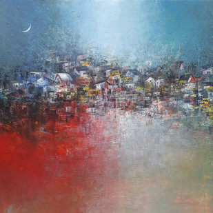 Village in Blue by M Singh, Geometrical Painting, Acrylic on Canvas, Brown color