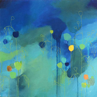 A Blue valley by Mitisha, Abstract Painting, Acrylic on Board, Cyan color