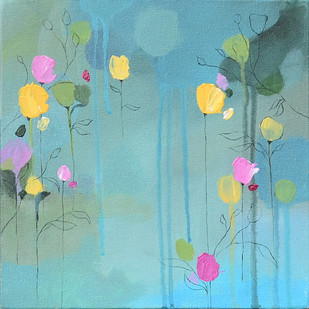 Garden of dreams by Mitisha, Abstract Painting, Acrylic on Canvas, Cyan color