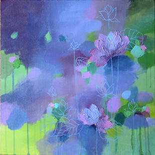 Lost lotus by Mitisha, Abstract Painting, Acrylic on Canvas, Blue color