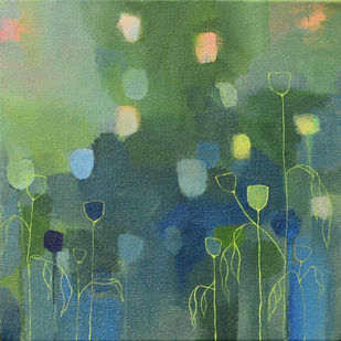 A Blue valley-II by Mitisha, Abstract Painting, Acrylic on Canvas, Green color