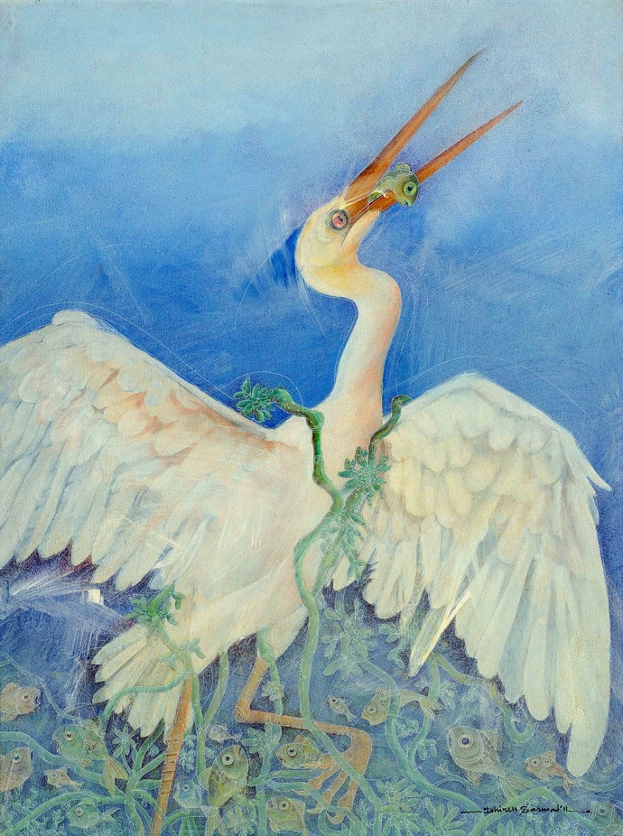 The Heron by Dhiren Sasmal, Impressionism Painting, Acrylic & Ink on Canvas, Cyan color