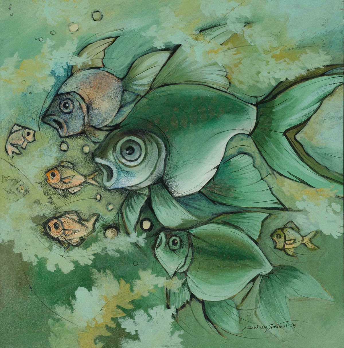 Fishes in a green sea by Dhiren Sasmal, Impressionism Painting, Acrylic on Canvas, Green color