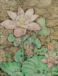 The Lily Pond by Dhiren Sasmal, Expressionism Painting, Acrylic on Board, Beige color