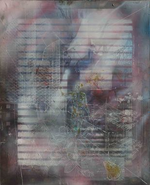 Serendipity by Viraag Desai, Impressionism Painting, Mixed Media on Canvas, Gray color