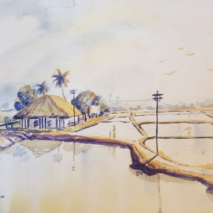 Rural Bengal Village by Kannan Ananthasubramani, Impressionism Painting, Watercolor on Paper, Beige color