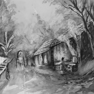 70s My native Village by Kannan Ananthasubramani, Impressionism Painting, Watercolor on Paper, Gray color