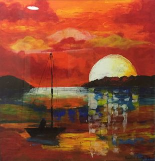 Seascape Red by Vernika, Expressionism Painting, Acrylic on Canvas, Brown color