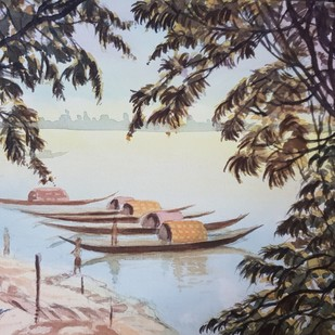 Princep Ghat Calcutta by Kannan Ananthasubramani, Impressionism Painting, Watercolor on Paper, Gray color