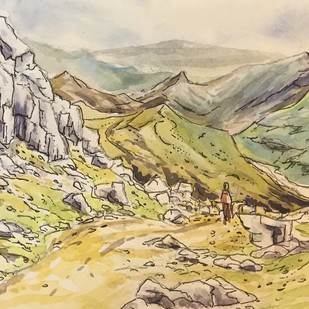 Rocky Mountain Path in Line & Wash Technique by Kannan Ananthasubramani, Impressionism Painting, Pen, pencil, watercolour on paper, Beige color