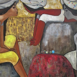 girls playing marbles by Suruchi Jamkar, Expressionism Painting, Acrylic on Canvas, Brown color