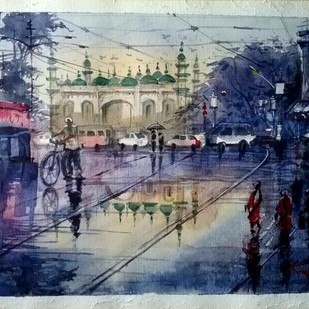 Street of Kolkata by Krishnendu Halder, Impressionism Painting, Watercolor on Paper, Blue color